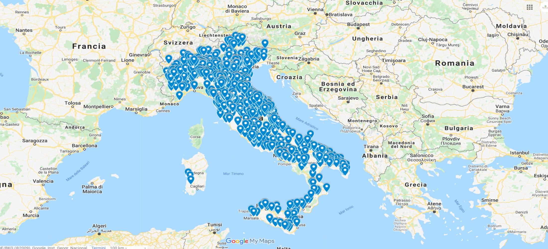 Cartina Distributori Metano Puglia.Mappa Impianti Metano Metano Italia